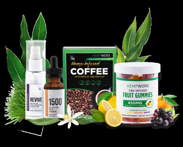 HempWorx CBD Oil, CBD Gummies, CBD Coffee, CBD cream for pain