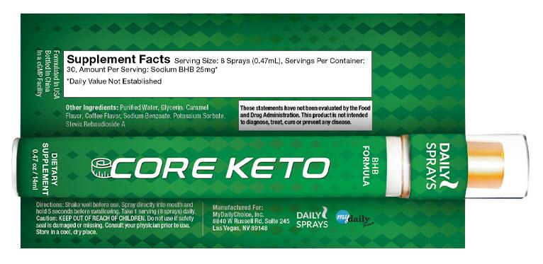 Core Keto BHB Spray Label